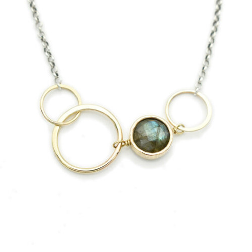 Labradorite Coin with 14kt GF Links Necklace