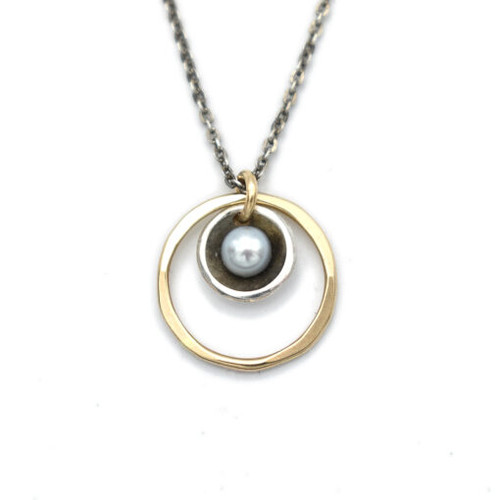 Grey Pearl in Oxidized Sterling and 14kt Gold-filled Circle Necklace