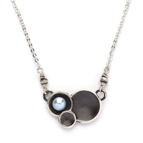 Triple Oxidized Sterling Cup Cluster w/ Silver Grey Pearl Necklace