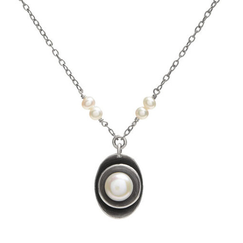 Cupped White Pearl Pendant on White Pearl and Sterling Necklace