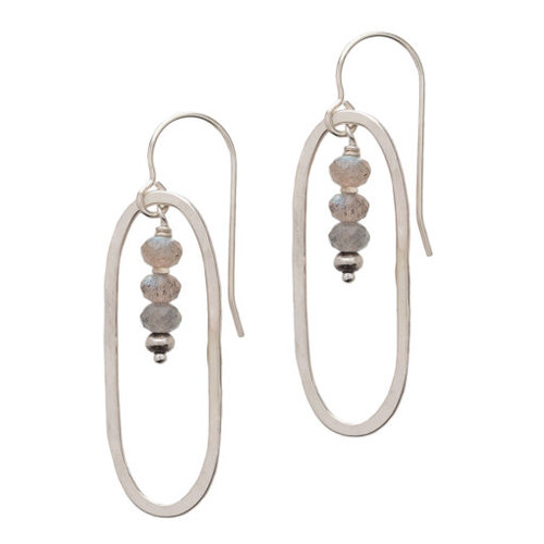 Sterling Oval with Labradorite Roundel Drop Earring