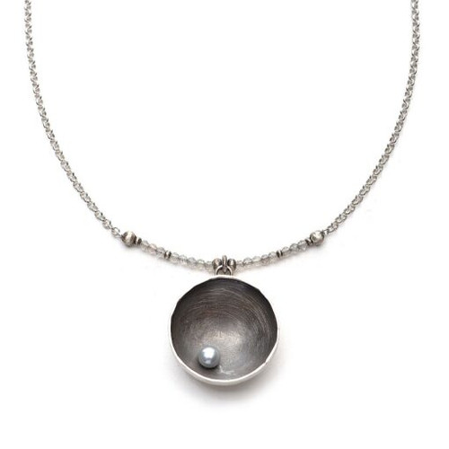 Large Oxidized Sterling Cup w/ Offset Silver Grey Pearl and Faceted Labradorite on Sterling Chain