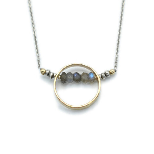 14kt Gold Filled Circle w/ Faceted Labradorite  Necklace