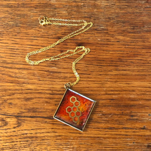 Honeycomb Resin Necklace