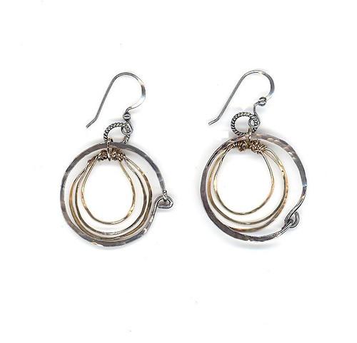 Hammered Triple Ring Earrings
