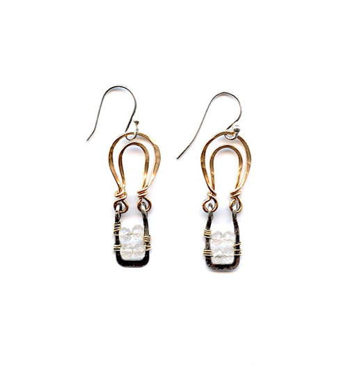 Rose Quartz Basket Earrings