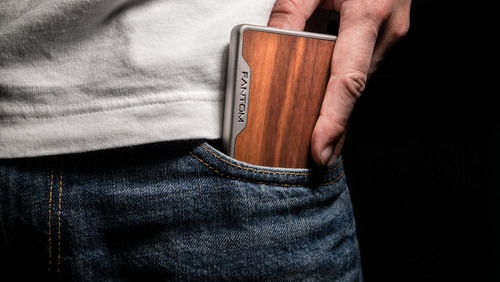 slim wooden wallet