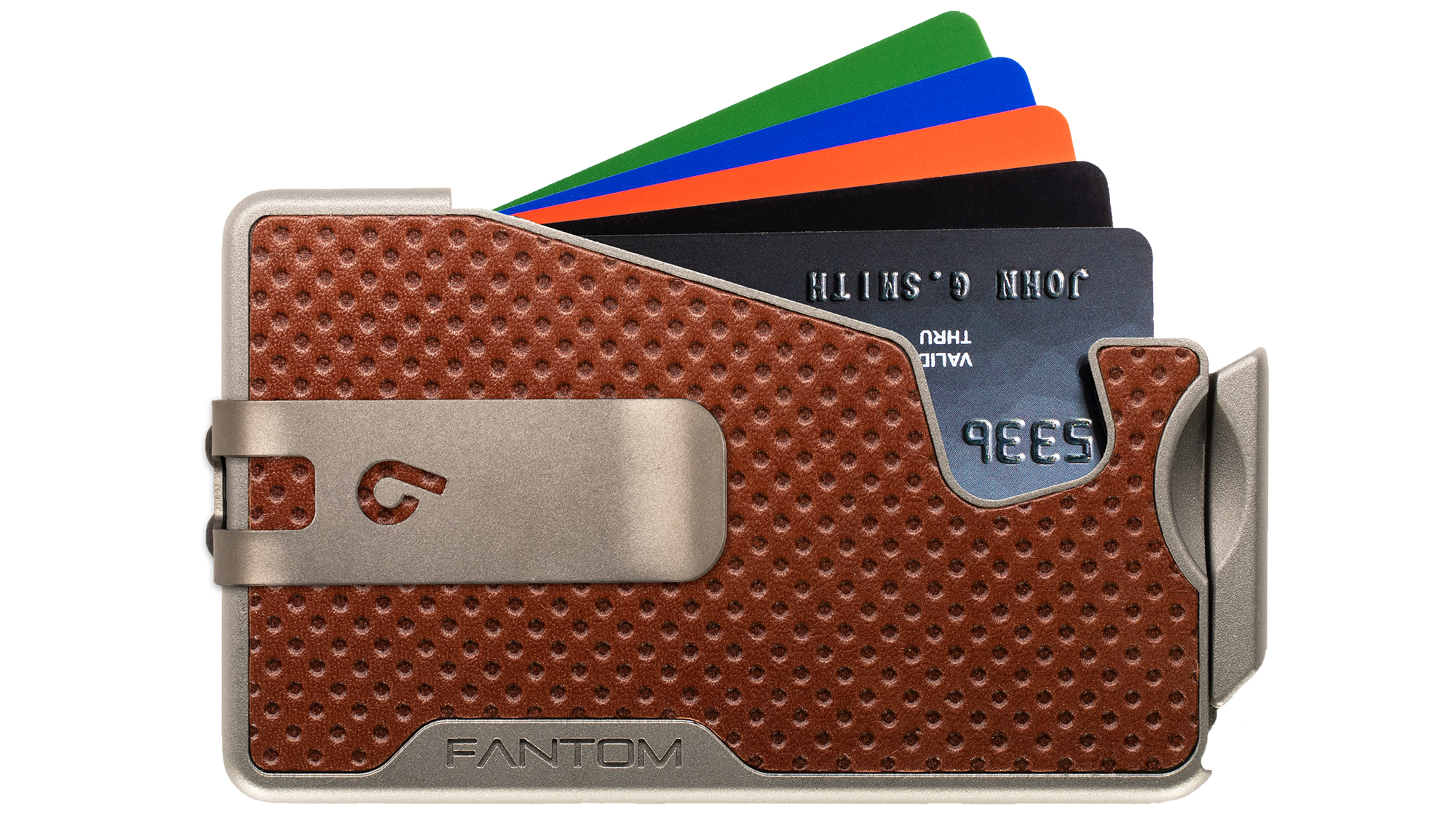 Fantom R 10 Brown Dot Embossed With Silver Money Clip