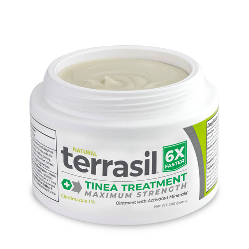 terrasil Tinea Treatment MAX ointment, 200 gram jar open