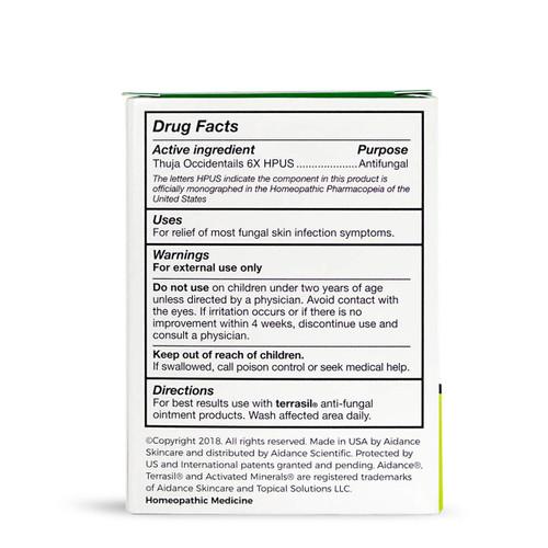 terrasil Anti-fungal cleansing bar, packaging back
