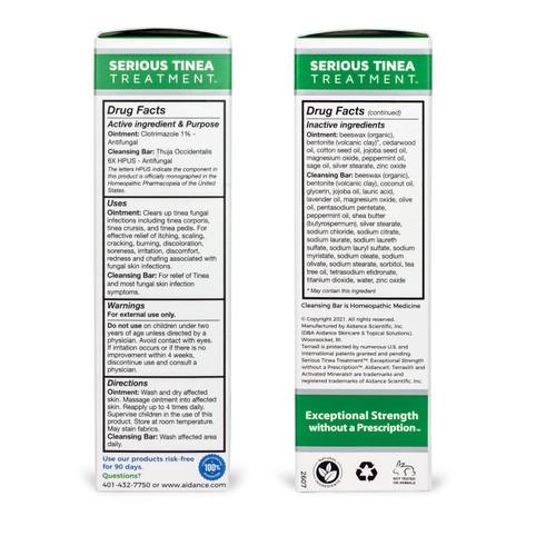 terrasil Serious Tinea Treatment kit box, sides