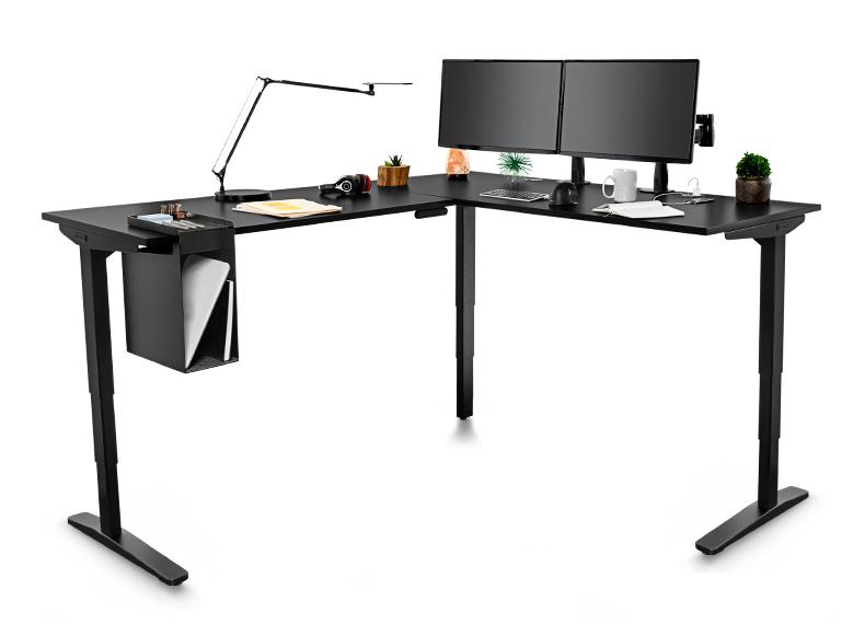 Black L-shaped adjustable height sit-stand desk