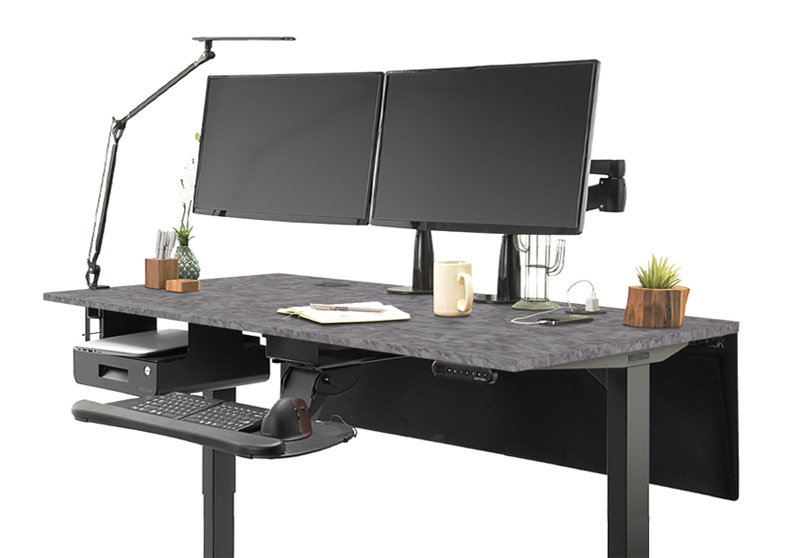 UPLIFT V2 Custom Laminate Standing Desk with Fawn Cypress and Catalina Desktops