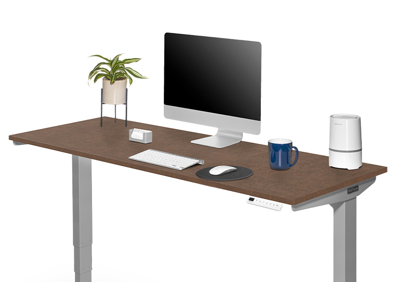 60x24 Fawn Cypress  Custom Laminate Ergonomic Desk and V2 60x24 Windswept Bronze Standing Desk