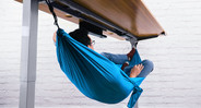 Our Under-Desk Hammock attaches securely to our frame's accessory mounting points