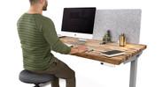 "60"" x 30"" acacia Solid Wood Desk on a gray UPLIFT V2 Standing Desk Frame"