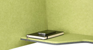 The Acoustic Phone Booth even comes with a handy shelf to store lightweight items, like notebooks