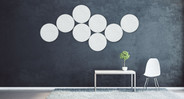 Use multiple panels to create  an eye-catching wall mural that absorbs sound