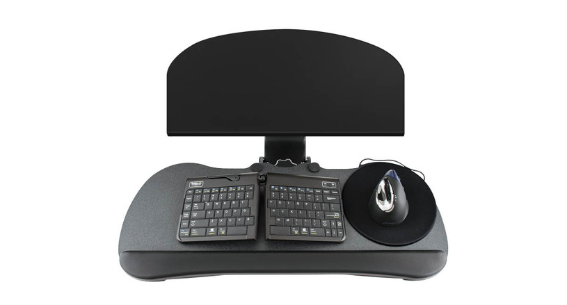 The UPLIFT Keyboard Tray Kit for Corner L-Shaped Desk boasts a low profile steel sleeve that fits most work surfaces