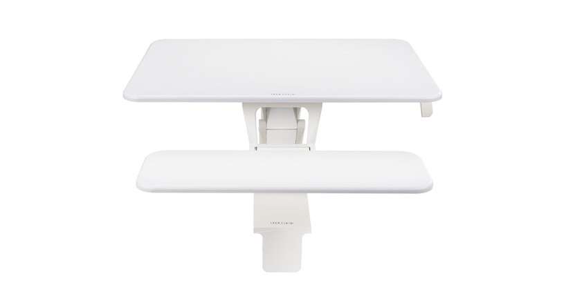 The Front Clamp Standing Desk Converter comes in both black and white options