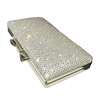 Crystal embellished clutch bag with silver clasp bow.
