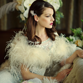 Ostrich Feather Stole - Ivory