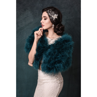 Marabou Feather Wrap - Teal Green