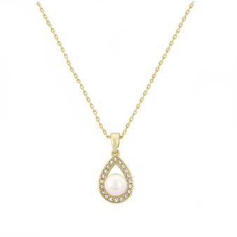 Cubic Zirconia Collection - Precious Pearl Necklace - Gold