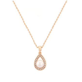 Cubic Zirconia Collection - Precious Pearl Necklace - Rose Gold