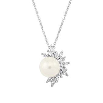 Cubic Zirconia Collection - Dazzling Pearl Pendant Necklace
