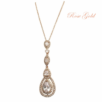 Cubic Zirconia Collection - Starlet Sparkle Necklace - Rose Gold
