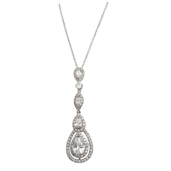 Cubic Zirconia Collection - Starlet Sparkle Necklace - Silver