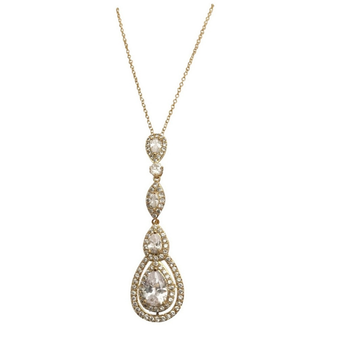 Cubic Zirconia Collection - Starlet Sparkle Necklace - Gold