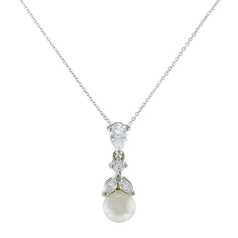 Cubic Zirconia Collection - Graceful Pearl Necklace - Silver