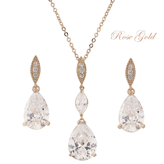 Cubic Zirconia Collection - Bridal Necklace Set - Rose Gold