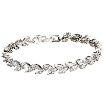 Cubic Zirconia Collection - Chic Crystal Bracelet - Silver