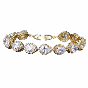 Cubic Zirconia Collection - Exquisite Crystal Treasure Bracelet - Gold