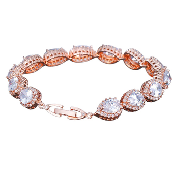 Cubic Zirconia Collection - Exquisite Crystal Treasure Bracelet - Rose Gold