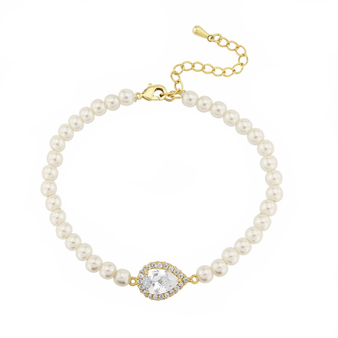 Cubic Zirconia Collection - Chic Pearl Bracelet - Gold