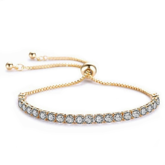 Cubic Zirconia Collection - Crystal Sparkle Bracelet - Gold