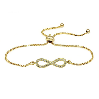 Cubic Zirconia Collection - Adjustable Crystal Infinity Bracelet - Gold
