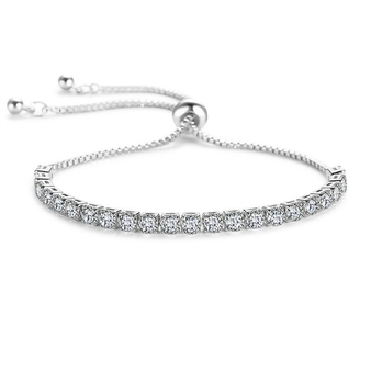 Cubic Zirconia Collection - Crystal Sparkle Bracelet - Silver