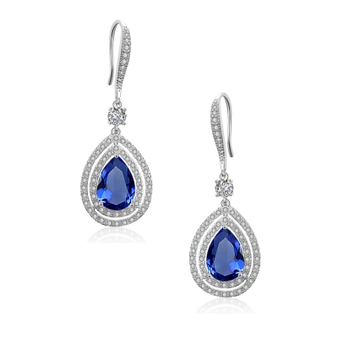 Silver embellished starlet drop sapphire earrings.