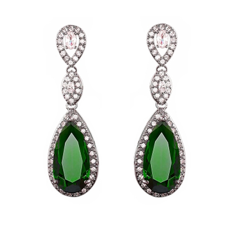 statement teardrop earrings with stunning emerald green coloured crystal surrounded by clear cz crystals on a silver finish.