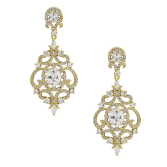 Crystal statement earrings in a stunning vintage inspired design, embellished with clear crystals on a gold finish.