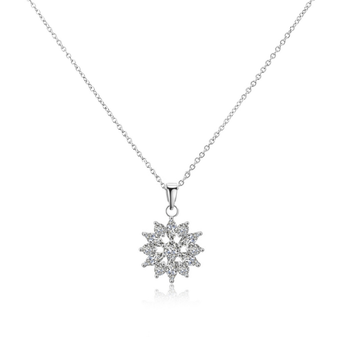 Cubic zirconia dainty sparkle necklace - elegantly designed in a flower shape embellished with clear crystals on a silver finish.