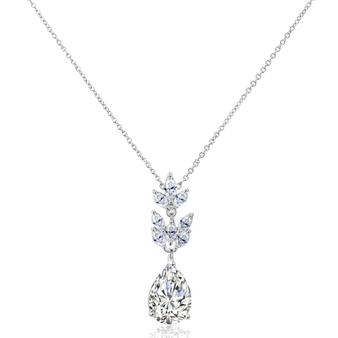 Vintage inspired Pendant necklace embellished with high quality cubic zirconia crystals on a rhodium plated finish.
