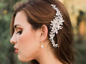 Rhodium plated hair comb with fabric flowers, leaves, rhinestone, crystal and natural pearl bead accents