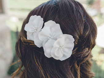 Rhodium plated hair pins with fabric flowers and pearl beads.