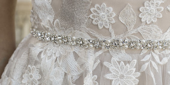 Rhinestone and pearl bead belt with satin ties